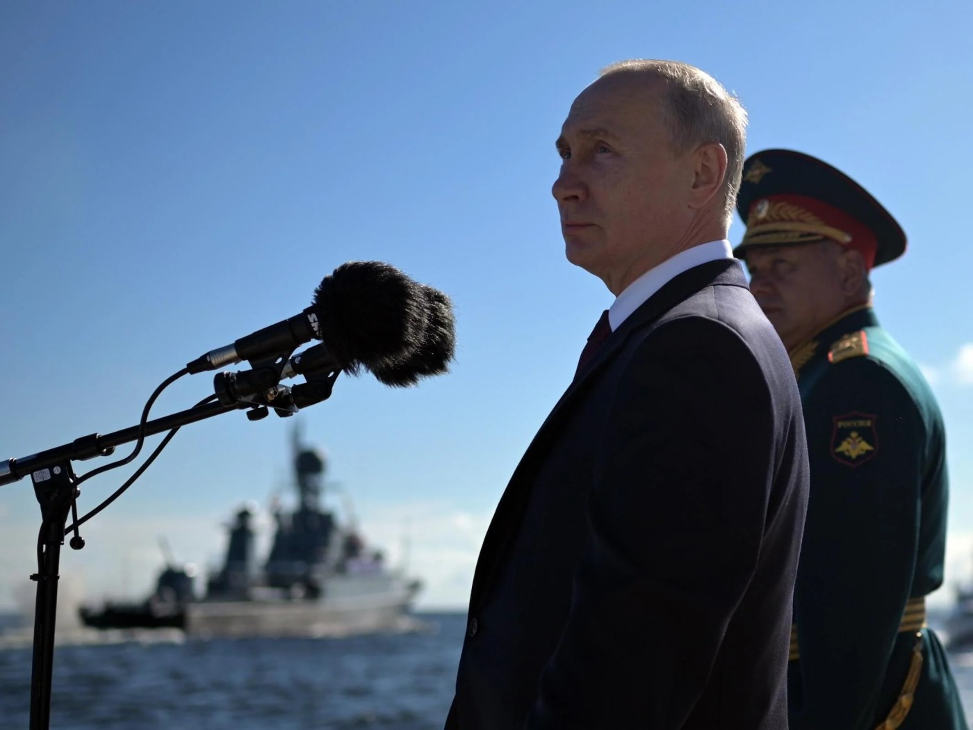 Russian president Vladimir Putin and defence minister Sergei Shoigu attend the 'Russia Navy Day' parade in St. Petersburg