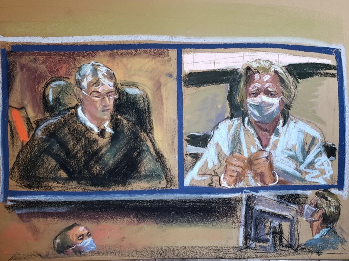 Artist's sketch showing former White House Chief Strategist Steve Bannon listening to Judge Stewart Aaron as he appears on video during his arraignment hearing for conspiracy to commit wire fraud and conspiracy to commit money laundering inside Manhattan Federal Court in the Manhattan borough of New York City on 20 August, 2020