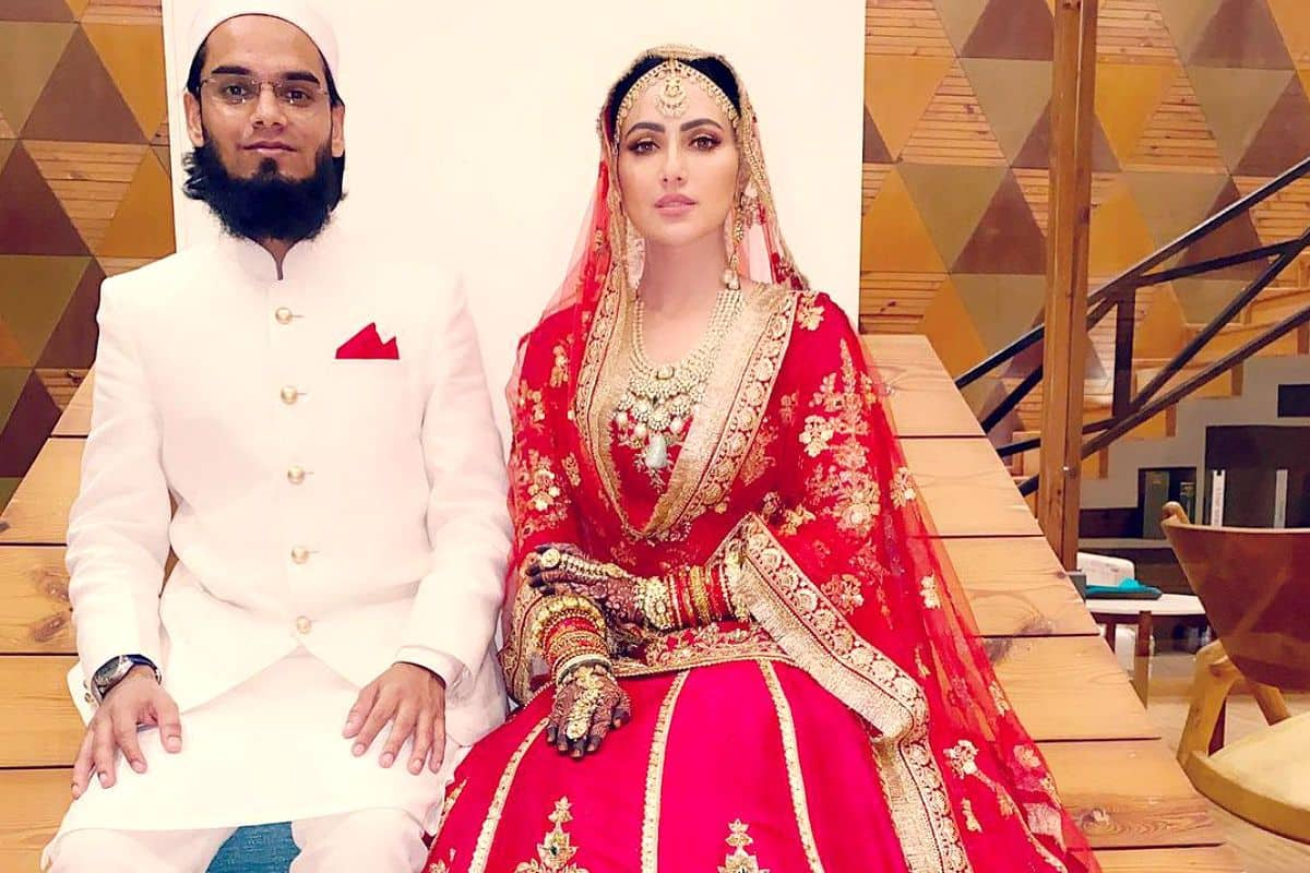 Sana Khan Shares Her First Wedding Picture With Anas Syed, Glows in Red Bridal Lehenga