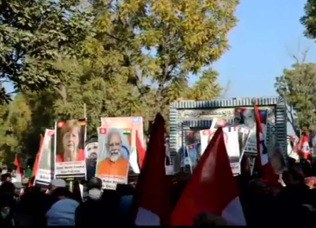 Protesters Raise Placards of PM Modi, Other World Leaders at Pro-freedom Rally in Pakistan
