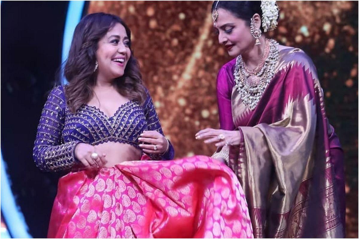 Indian Idol 12 Guest Rekha Gifts Stunning Pink Silk Saree to Neha Kakkar, Helps Her Drape it