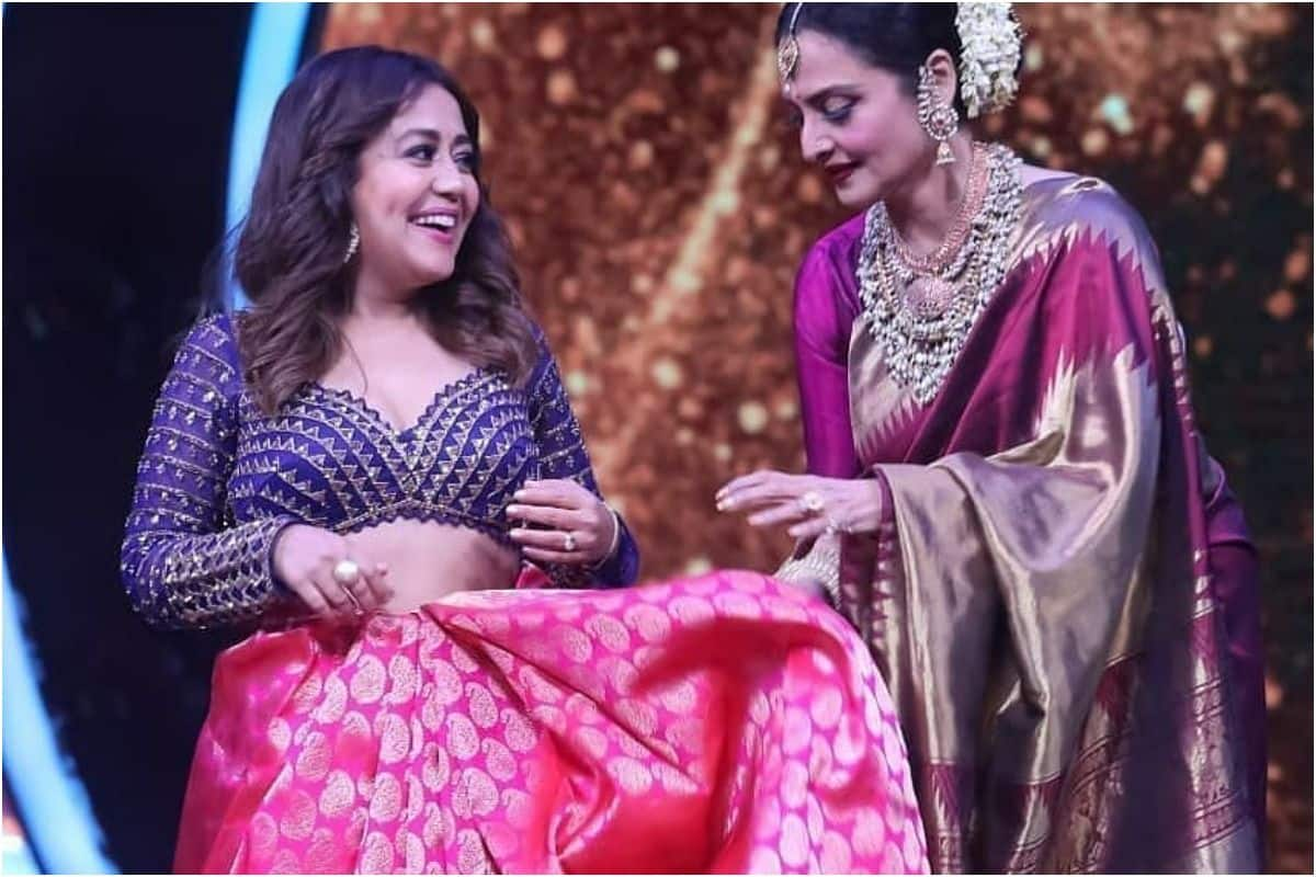 Indian Idol 12 Guest Rekha Gifts Stunning Pink Silk Saree to Neha Kakkar, Helps Her Drape it