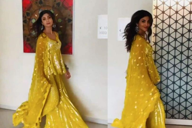 Shilpa Shetty Treats Fans With Her Stunning Video in Yellow Shimmery Suit- Watch