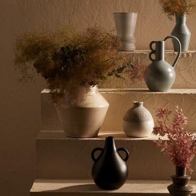 Various vases on display