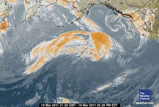 Massive storm in Pacific headed for U.S. West Coast, March 18, 2011