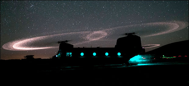 A CH-47 Chinook helicopter during a night operation. Photo: U.S. Army