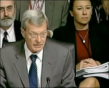 Democrat Senator Max Baucus and his aide, Elizabeth Fowler (on the right).