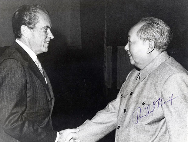President Nixon meets the world's most notorious mass murderer, China's Chairman Mao.