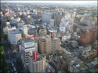 Kōriyama, shown here, has an estimated population of around 336,000.