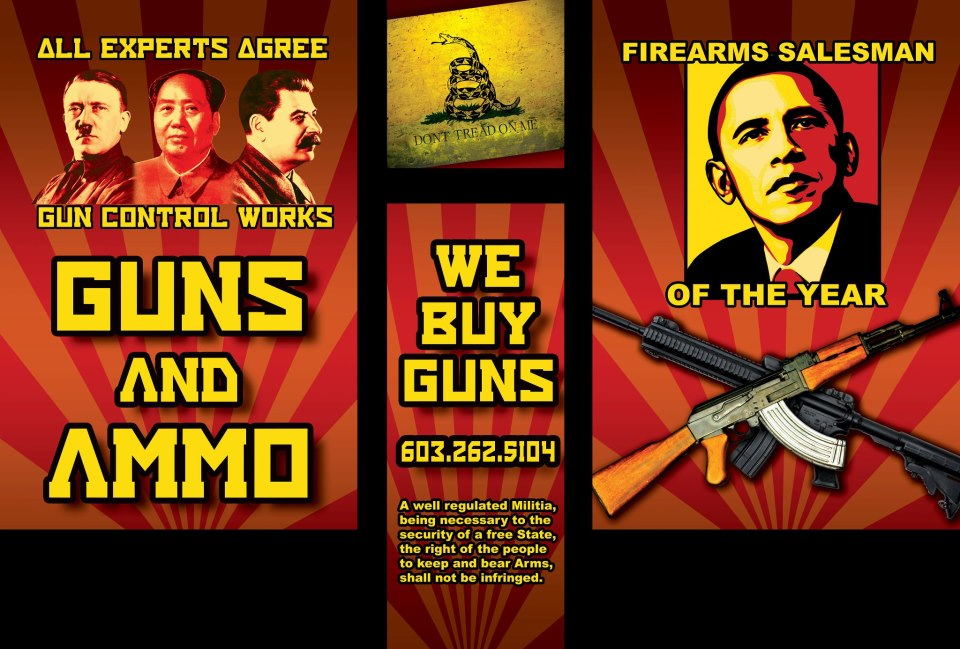 "New Hampshire gun store poster: Obama is ""Firearms Salesman of the Year."""