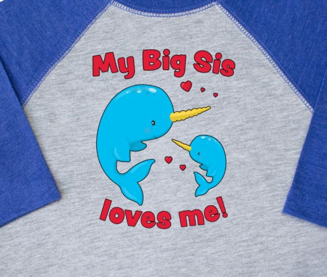 Inktastic My Big Sis Loves Me Narwhal Family