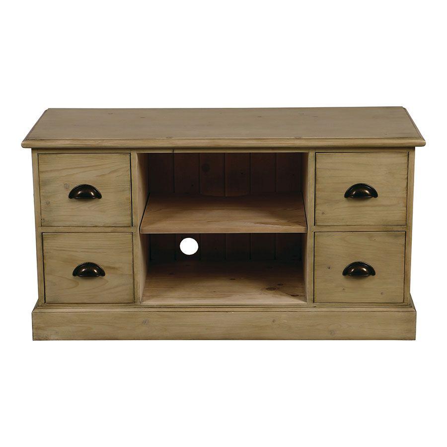 meuble tv avec rangements en epicea naturel cendre natural