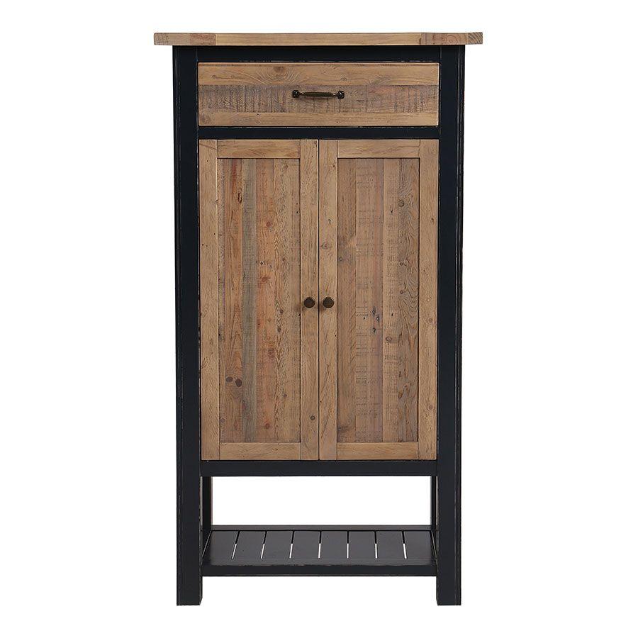 cabinet de rangement bleu en bois recycle rivages