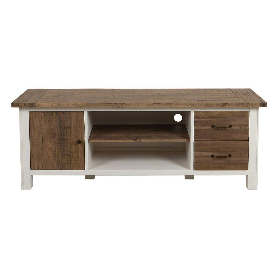 meuble tv blanc avec rangements en bois recycle rivages