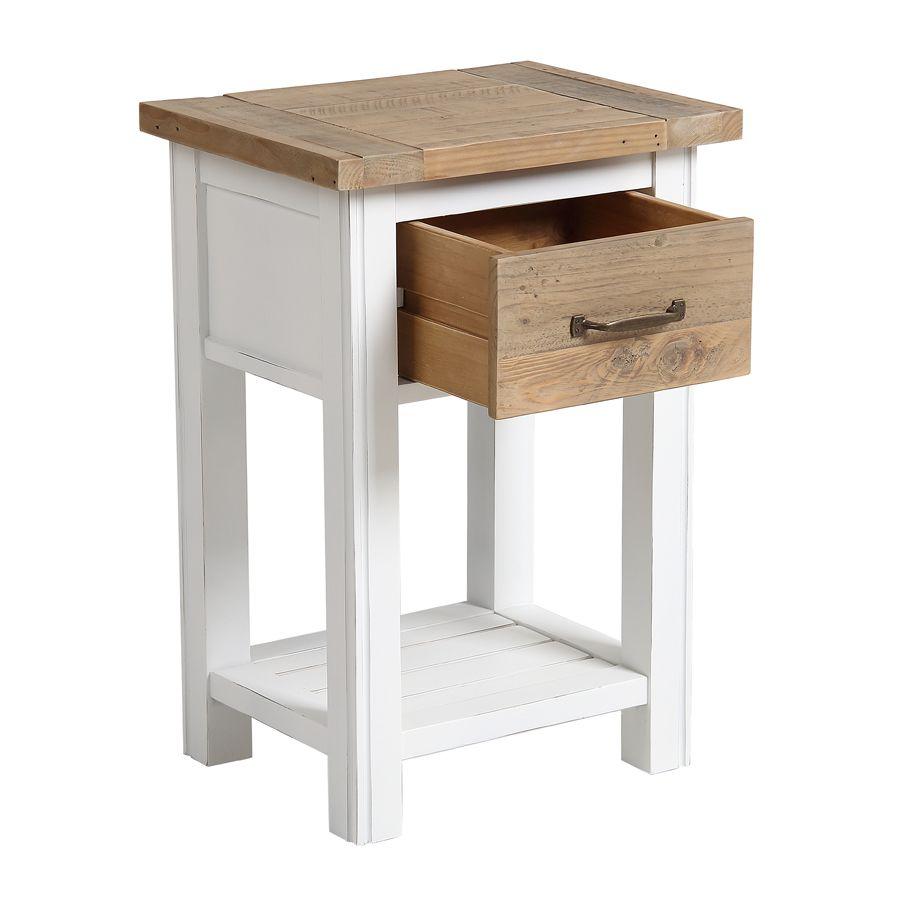 table de chevet en bois recycle blanc rivages