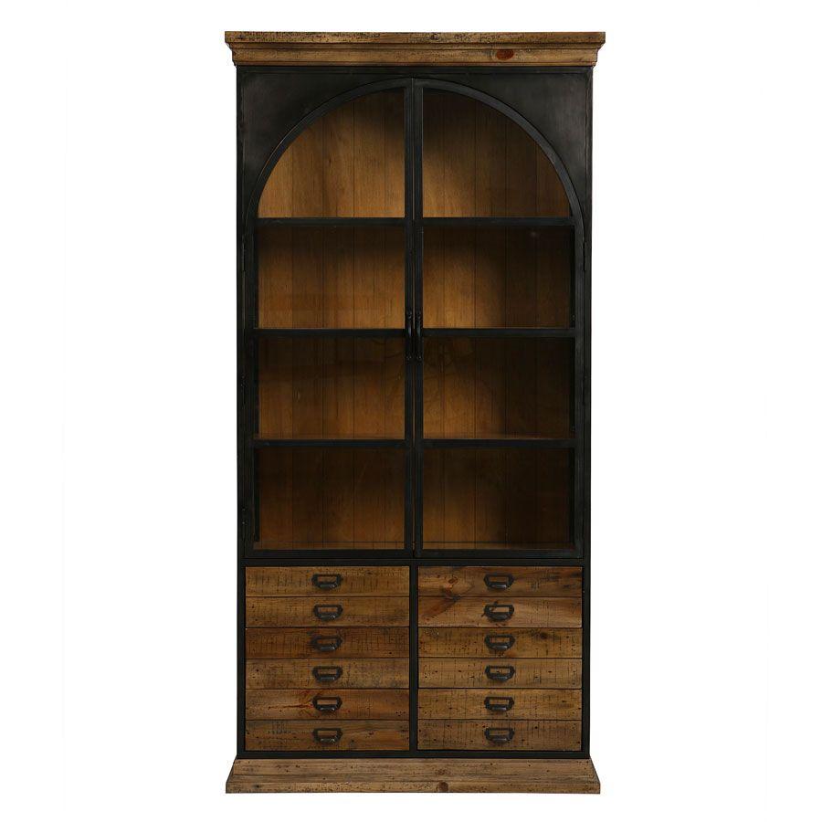 bibliotheque industrielle en bois recycle et metal manufacture