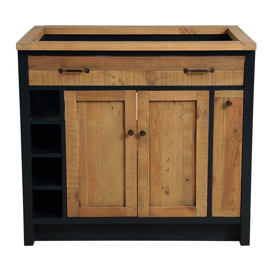 meuble pour evier en bois recycle bleu navy rivages