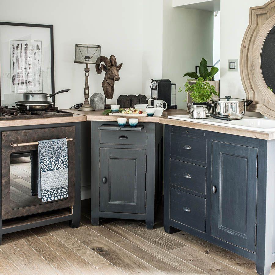 meuble bas d angle de cuisine en pin noir graphite brocante