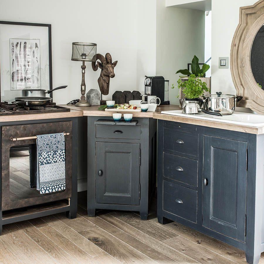meuble bas de cuisine pour evier en pin noir graphite brocante