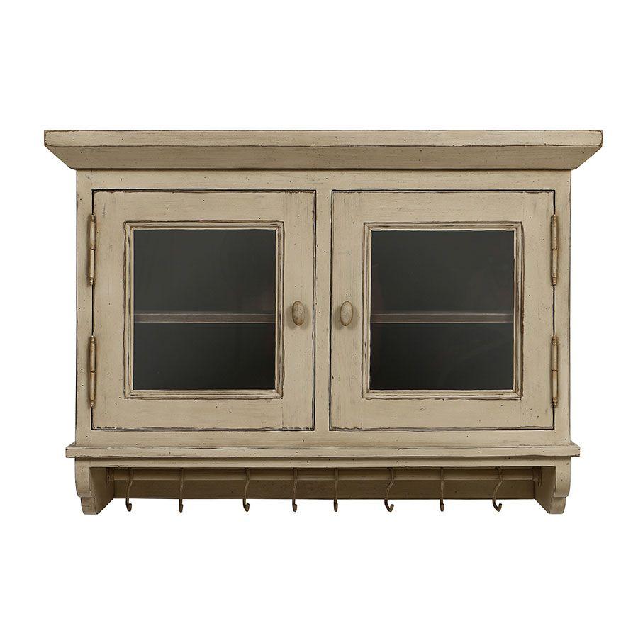 meuble haut de cuisine portes vitrees en pin brocante