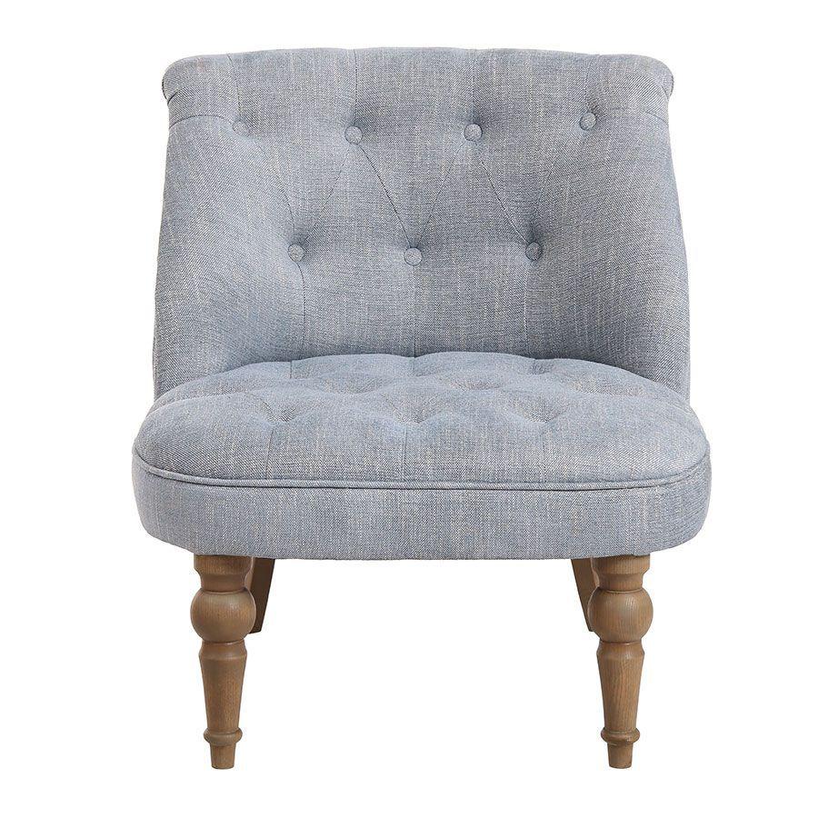 fauteuil crapaud en tissu bleu chambray bastien