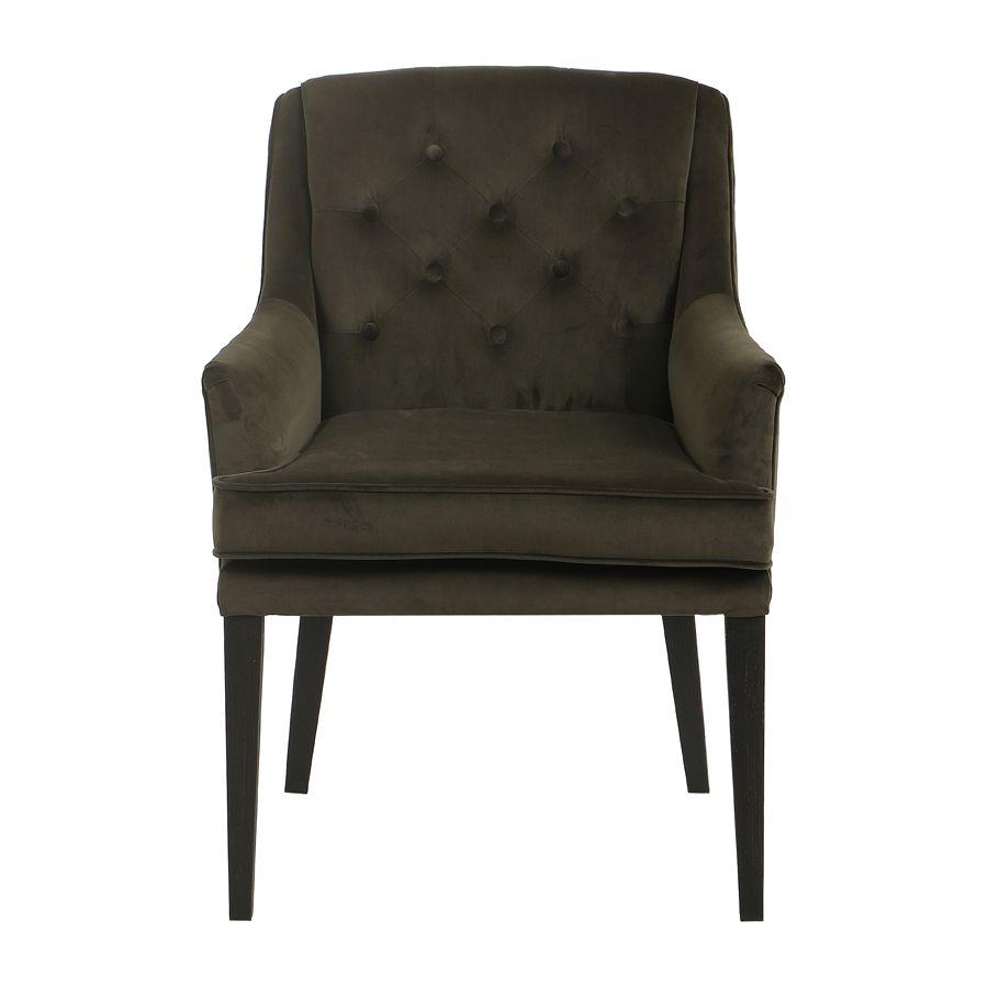 fauteuil de table en tissu velours kaki joseph