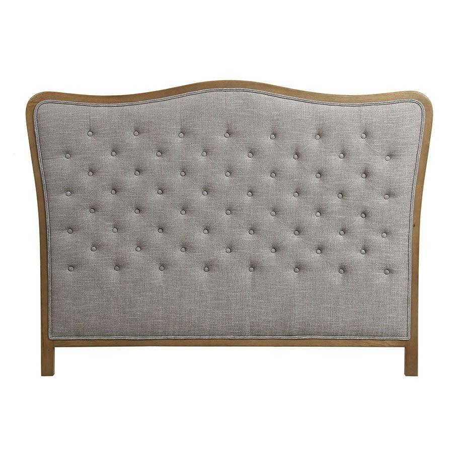 tete de lit capitonnee 140 160 cm en frene et tissu gris chambray josephine