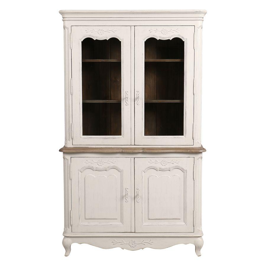 buffet vaisselier 2 portes vitrees en pin blanc vieilli chateau