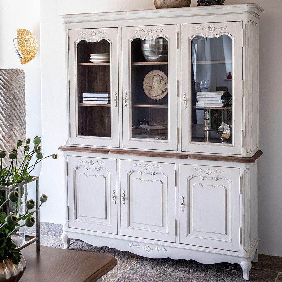 buffet vaisselier 3 portes vitrees en pin blanc vieilli chateau