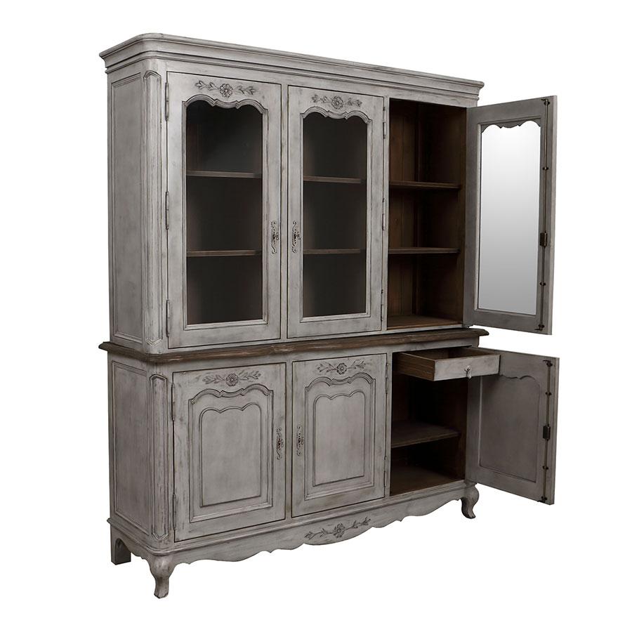 buffet vaisselier 3 portes vitrees en pin gris argente chateau