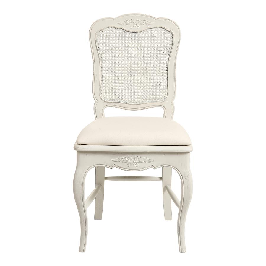 chaise cannee assise tissu blanc vieilli chateau