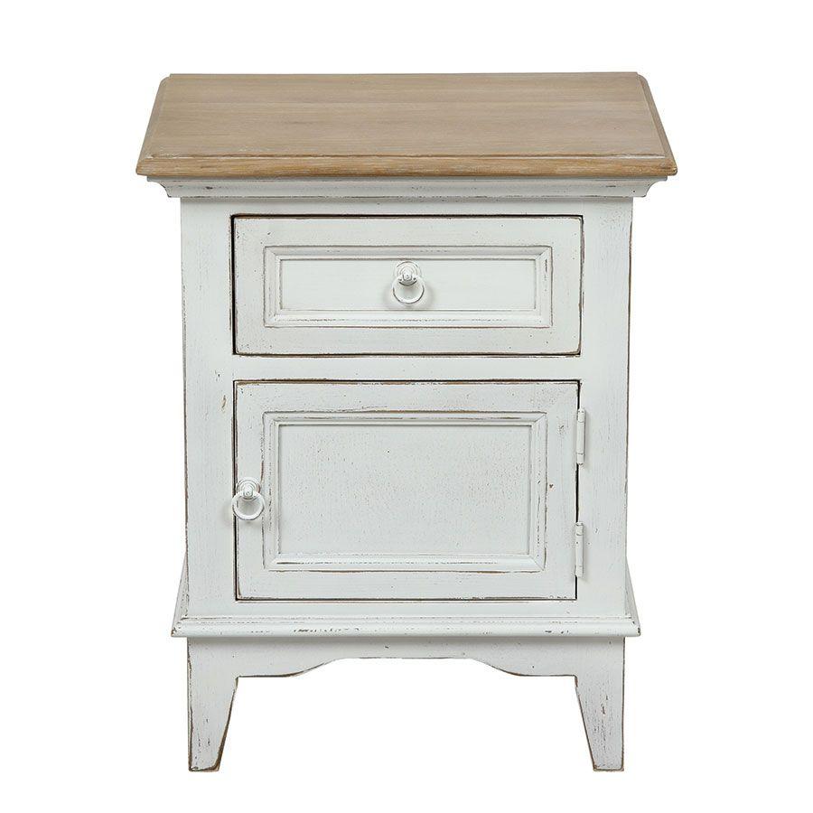 table de chevet en pin blanc vieilli esquisse