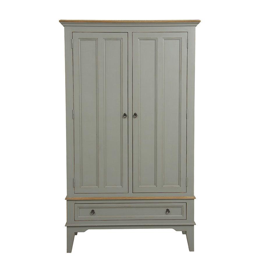 armoire penderie grise 2 portes en pin massif esquisse