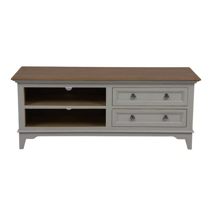 meuble tv gris 2 tiroirs en pin massif esquisse