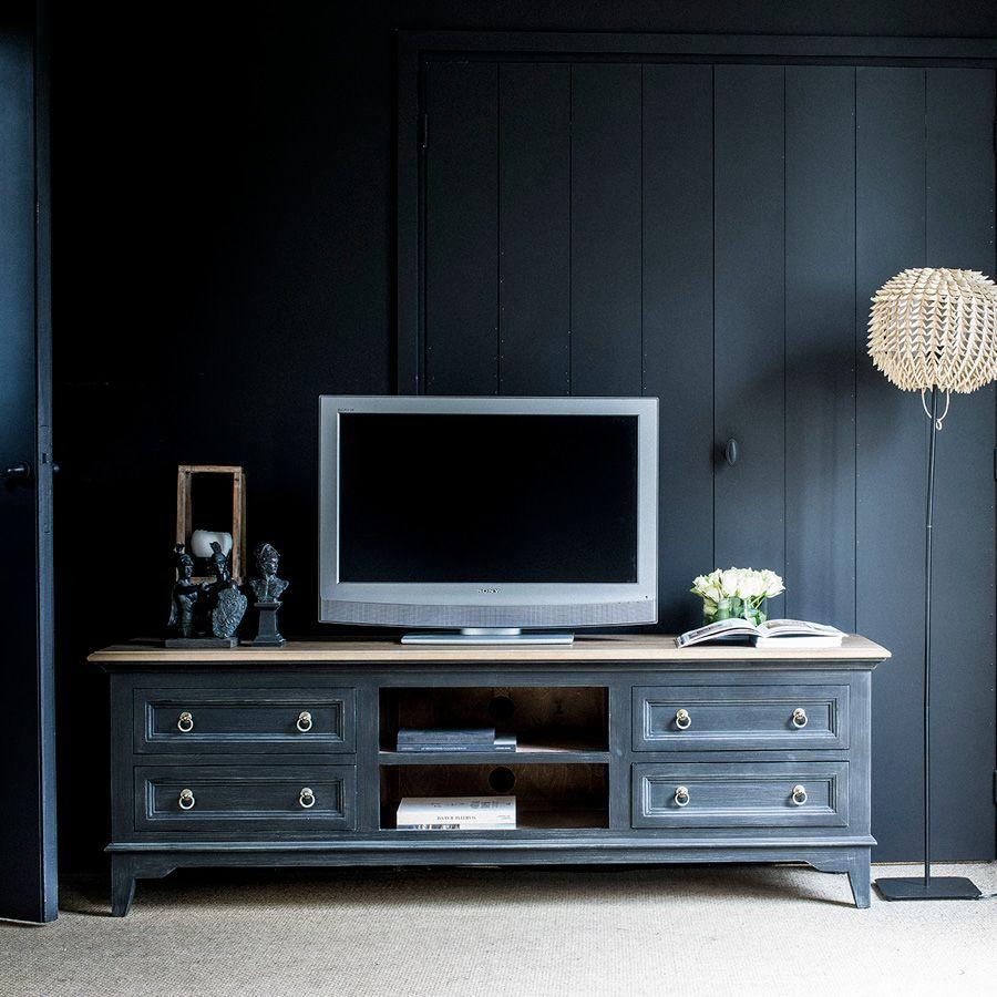 meuble tv noir avec rangements en pin esquisse