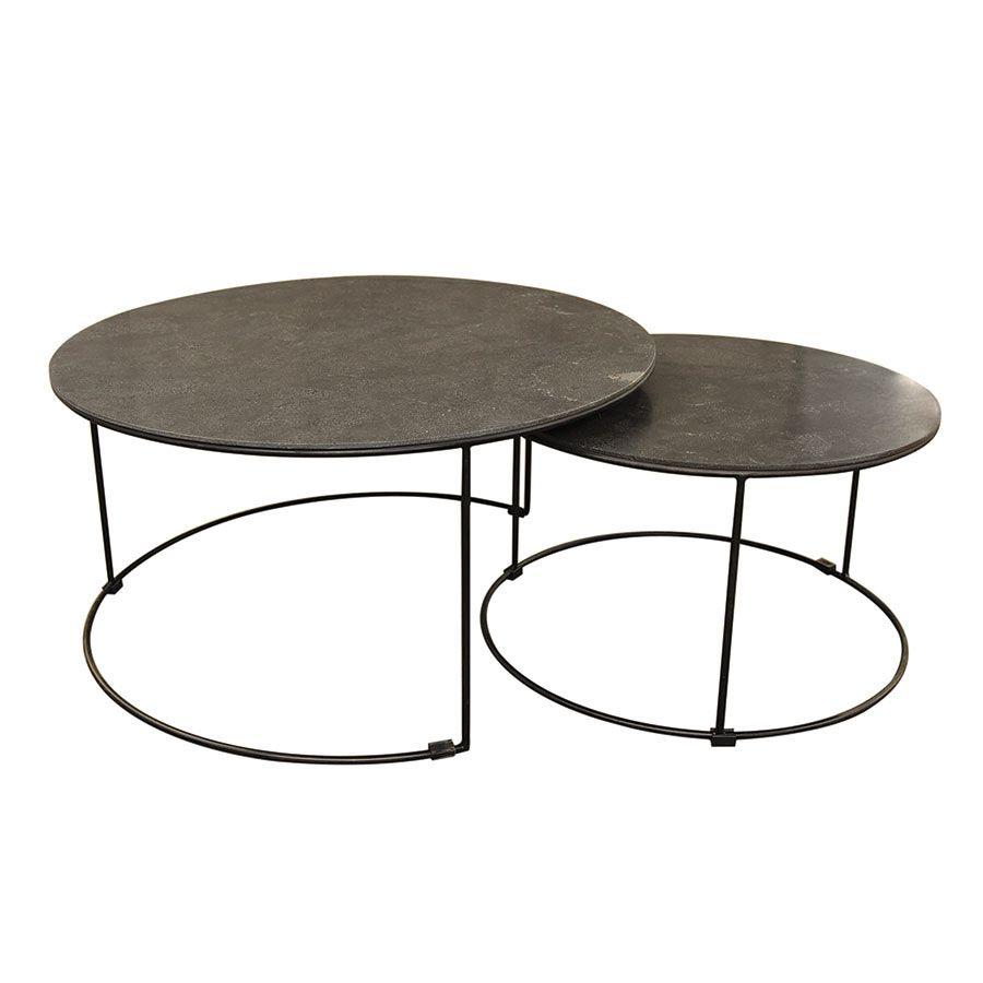tables basses rondes gigognes avec plateaux en pierre bleue mineral