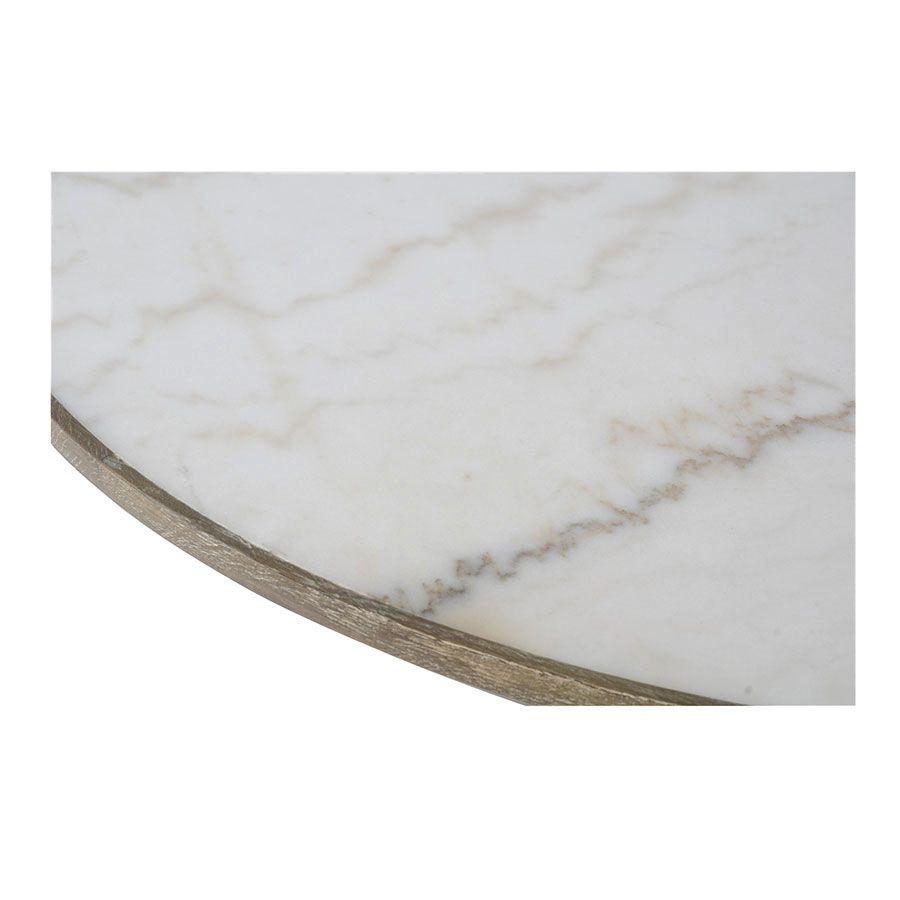 table ronde plateau en marbre blanc mineral