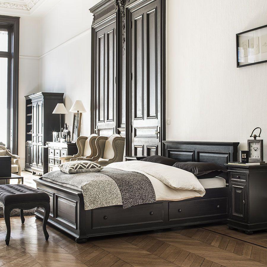 lit 160x200 avec tiroirs en bois noir harmonie