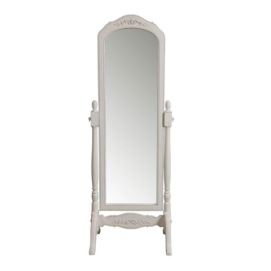 miroir psyche blanc vieilli en bois romance