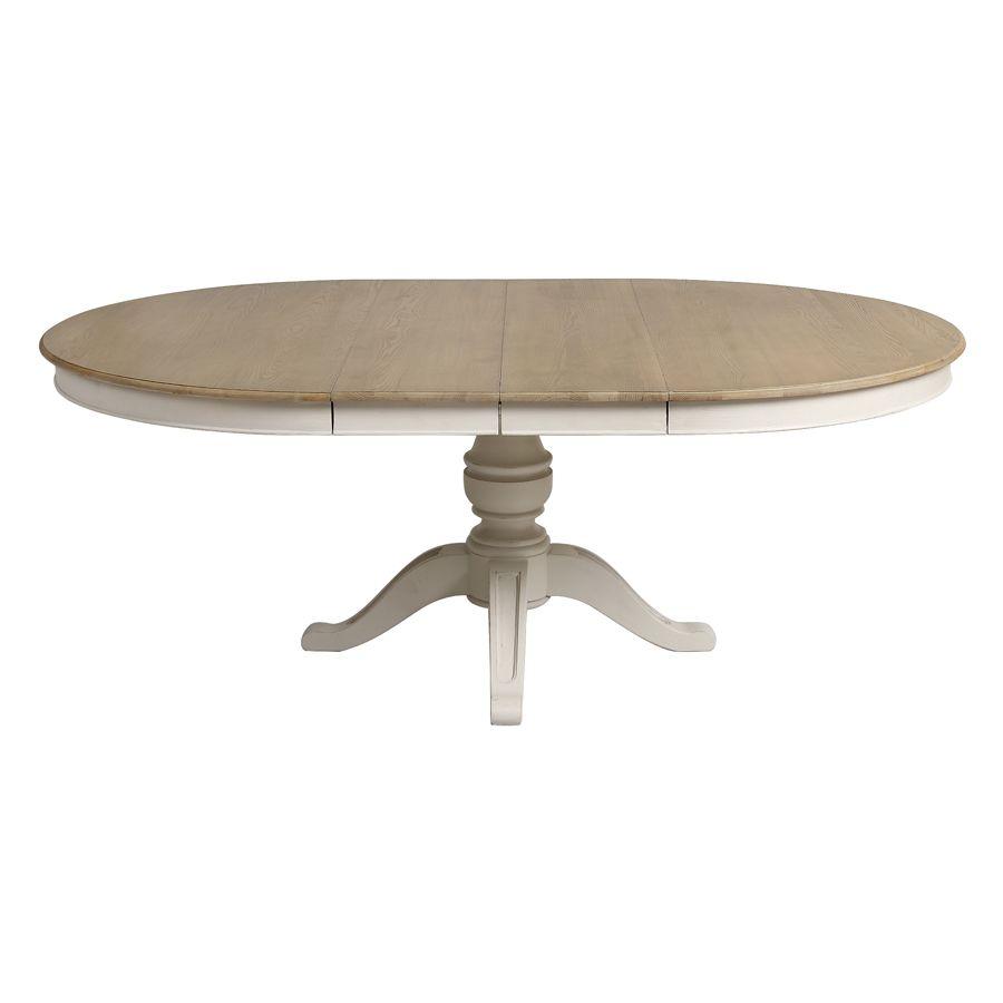table ronde extensible blanc vieilli pour 6 a 10 personnes manoir