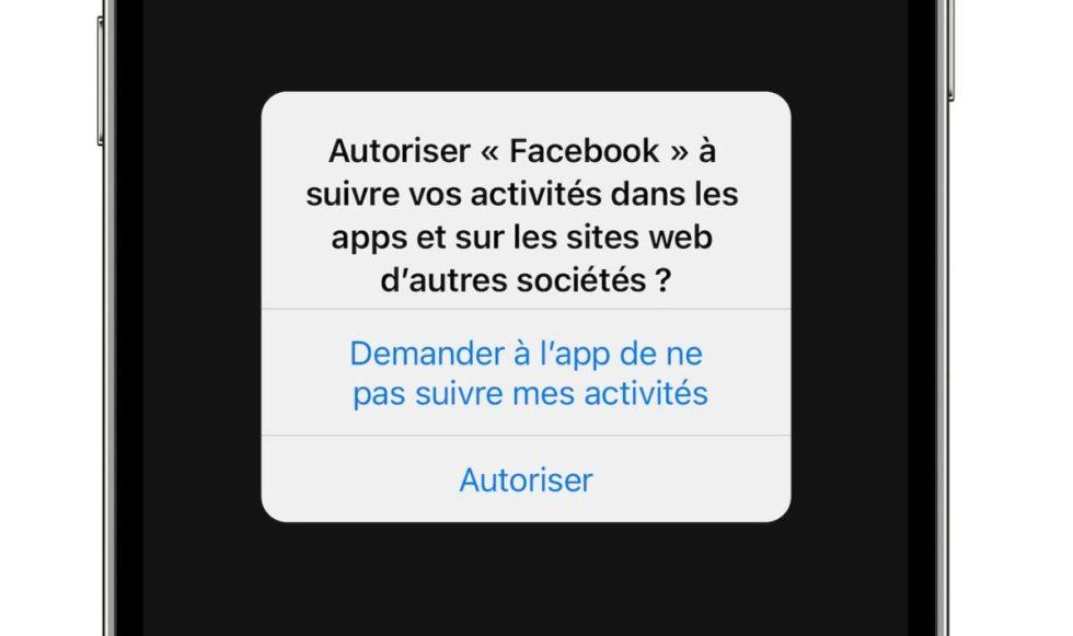 iOS 14 Pop-up pubblicitario anti-tracciamento francese