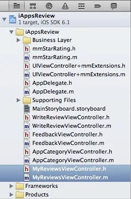New table view controller files