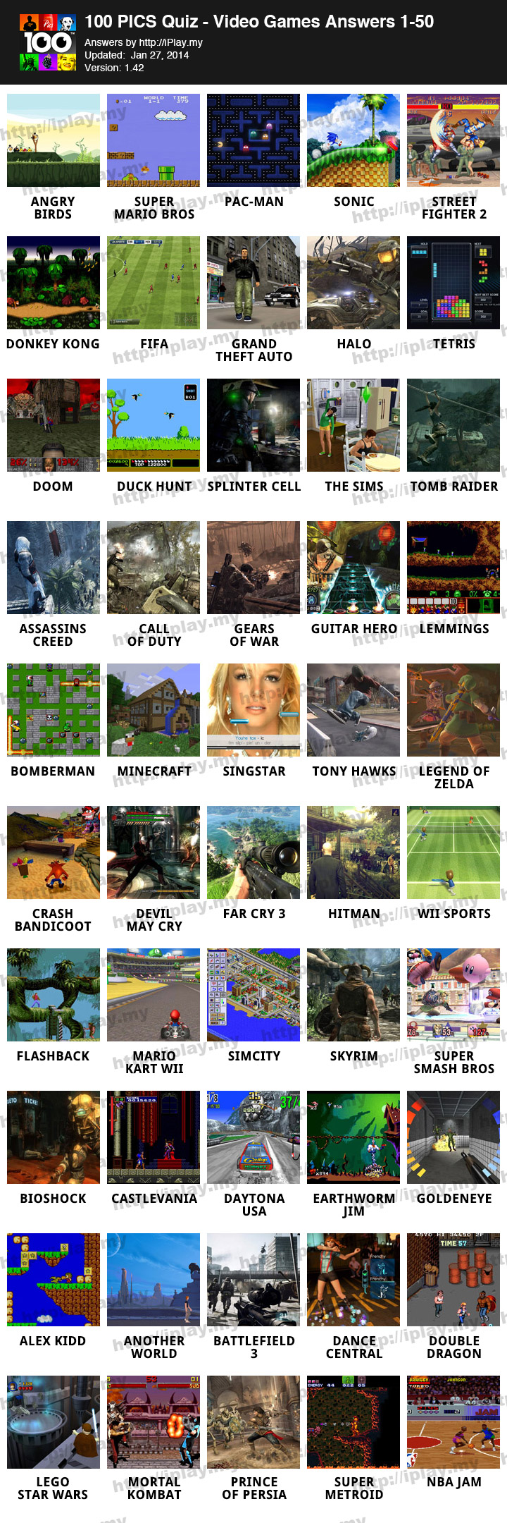 100 PICS Quiz     Video Games Pack Answers   iPlay my 100 PICS Quiz     Video Games Pack Answers 1 50