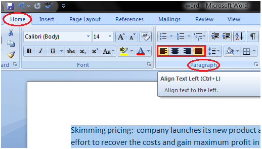 To Format Text Alignment in MS Word - javatpoint