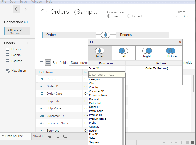 Tableau Data Joining