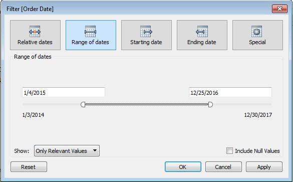 Tableau Basic Filters