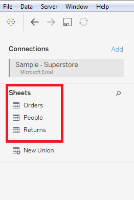 Tableau Data Connection with Microsoft Excel