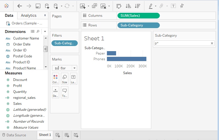Tableau Quick Filters