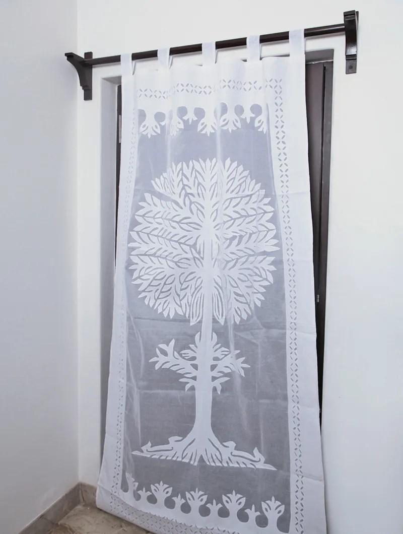 White Applique Cotton Curtain