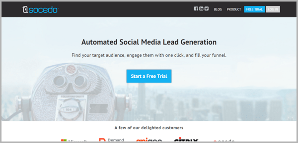 Socedo - example of social media management tools
